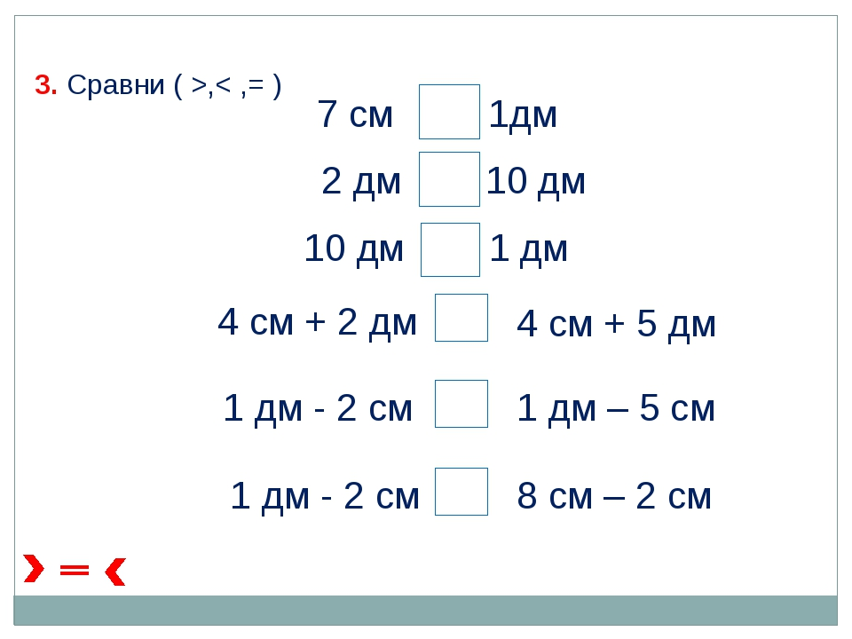 7 см 1дм 2 дм 10 дм 10 дм 1 дм 4 см + 2 дм 4 см + 5 дм 1 дм - 2 см 1 дм – 5 с...