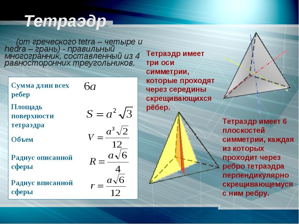 Тетраэдр (от греческого tetra – четыре и hedra – грань) - правильный многог...