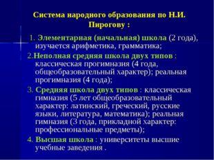 Система народного образования по Н.И. Пирогову : 1. Элементарная (начальная)