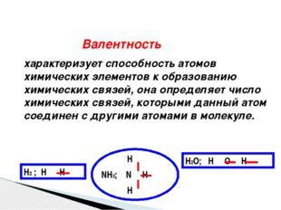 Валентность характеризует способность атомов химических элементов к образова