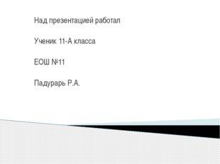 Над презентацией работал Ученик 11-А класса ЕОШ №11 Падурарь Р.А.