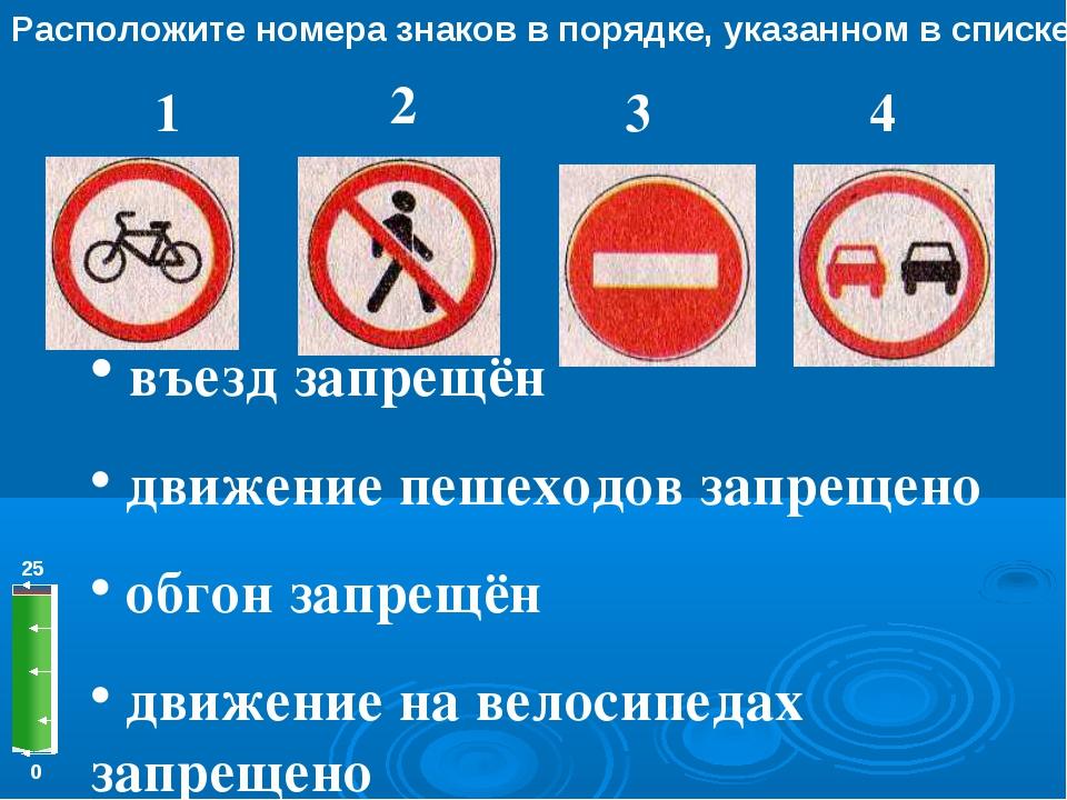 0 25 Расположите номера знаков в порядке, указанном в списке 1 2 3 4 въезд за...