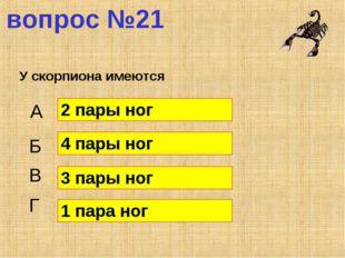 вопрос №21 У скорпиона имеются А Б В Г 2 пары ног 4 пары ног 3 пары ног 1 пар