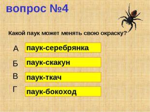 вопрос №4 Какой паук может менять свою окраску? А Б В Г паук-серебрянка паук-