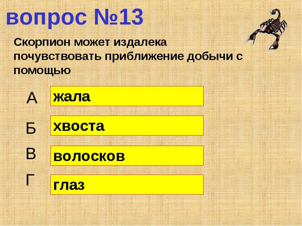 вопрос №13 Скорпион может издалека почувствовать приближение добычи с помощью...