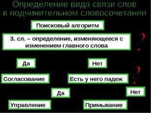 Поисковый алгоритм З. сл. – определение, изменяющееся с изменением главного с