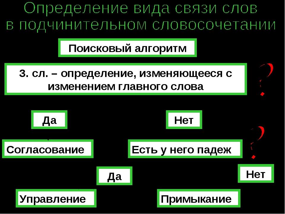 Поисковый алгоритм З. сл. – определение, изменяющееся с изменением главного с...