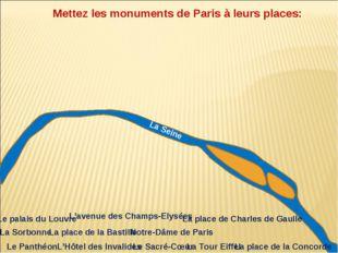 La Seine Mettez les monuments de Paris à leurs places: Notre-Dâme de Paris La
