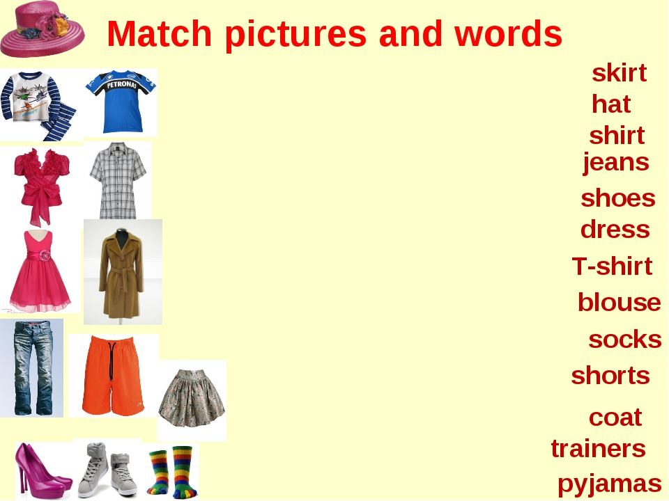 Match pictures and words hat shoes shirt dress jeans shorts coat skirt T-shir...