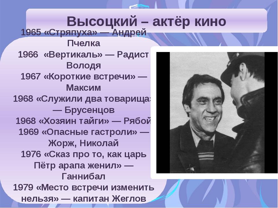 Высоцкий – актёр кино 1965 «Стряпуха» — Андрей Пчелка 1966 «Вертикаль» — Ради...