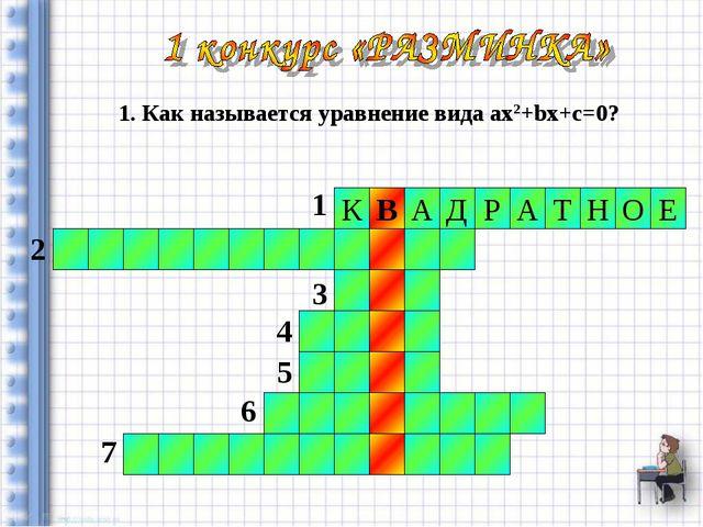 Р А Т Н А Д Е О К В 1 2 3 4 5 6 7 1. Как называется уравнение вида aх2+bх+с=0?