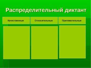 Распределительный диктант Качественные Относительные Притяжательные