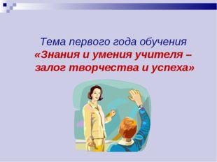 Тема первого года обучения «Знания и умения учителя – залог творчества и успе
