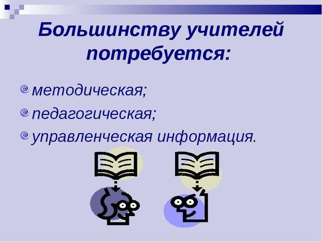 Большинству учителей потребуется: методическая; педагогическая; управленческа...