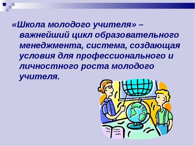 «Школа молодого учителя» – важнейший цикл образовательного менеджмента, систе...