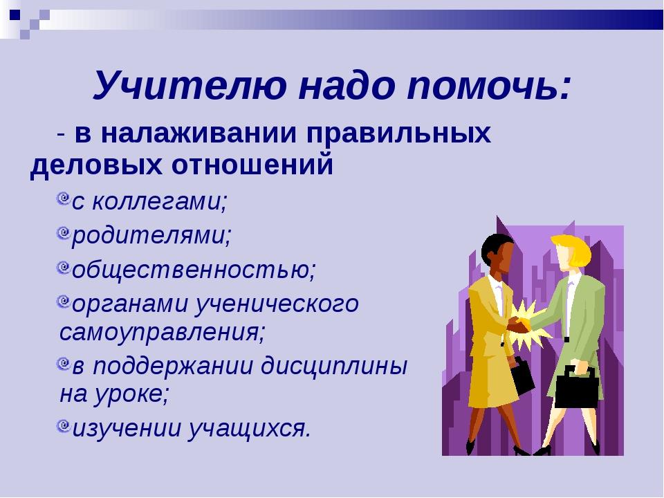 Учителю надо помочь: - в налаживании правильных деловых отношений с коллегами...