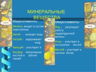 МИНЕРАЛЬНЫЕ ВЕЩЕСТВА Макроэлементы: Железо- входит в состав гемоглобина Калий
