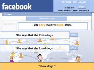 """Post to Profile """"I love dogs."""" She says that she loves dogs. She says that sh"""