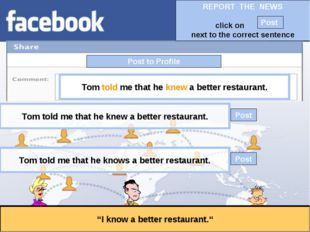 """Post to Profile """"I know a better restaurant."""" Tom told me that he knew a bett"""