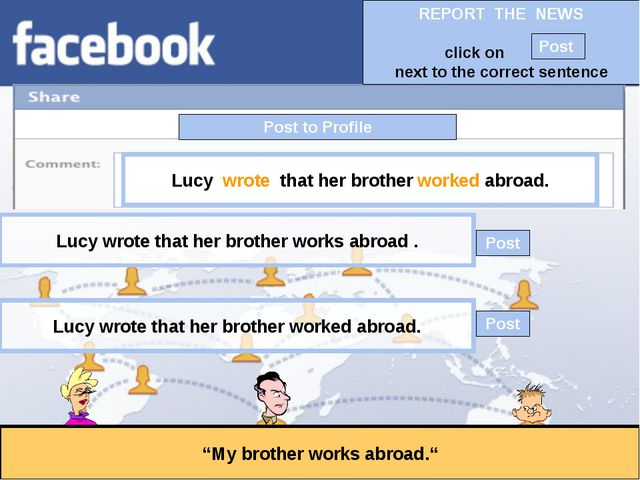 """Post to Profile """"My brother works abroad."""" Lucy wrote that her brother worked..."""