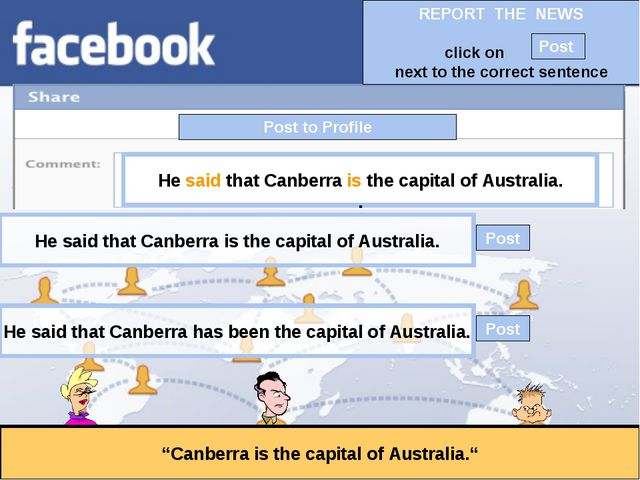 """Post to Profile """"Canberra is the capital of Australia."""" He said that Canberra..."""