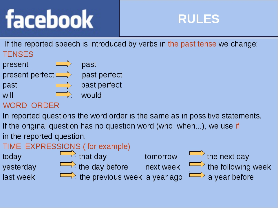 If the reported speech is introduced by verbs in the past tense we change: T...