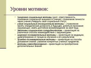 Уровни мотивов: 1широкие социальные мотивы (долг, ответственность, понимание