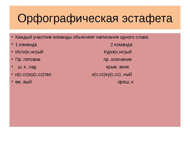 Орфографическая эстафета Каждый участник команды объясняет написание одного с...