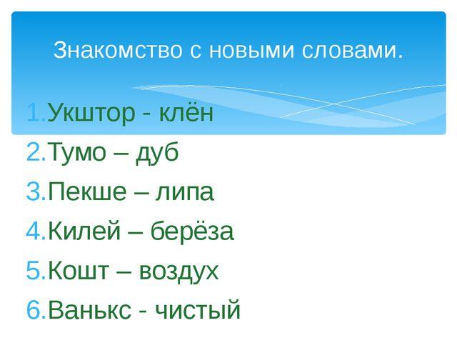 Знакомство с новыми словами. Укштор - клён Тумо – дуб Пекше – липа Килей – бе...