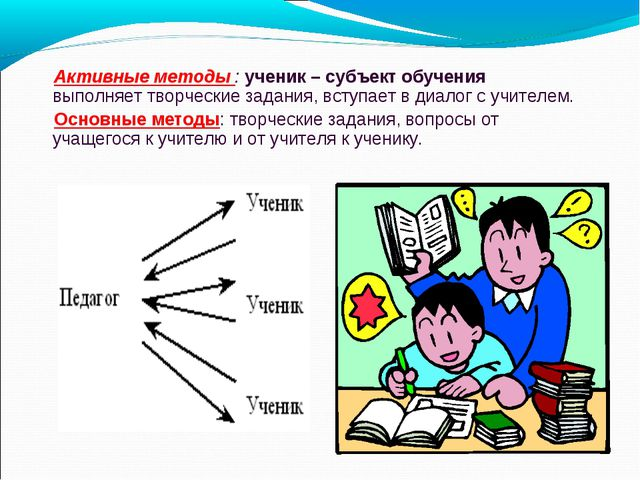 Активные методы : ученик – субъект обучения выполняет творческие задания, вс...