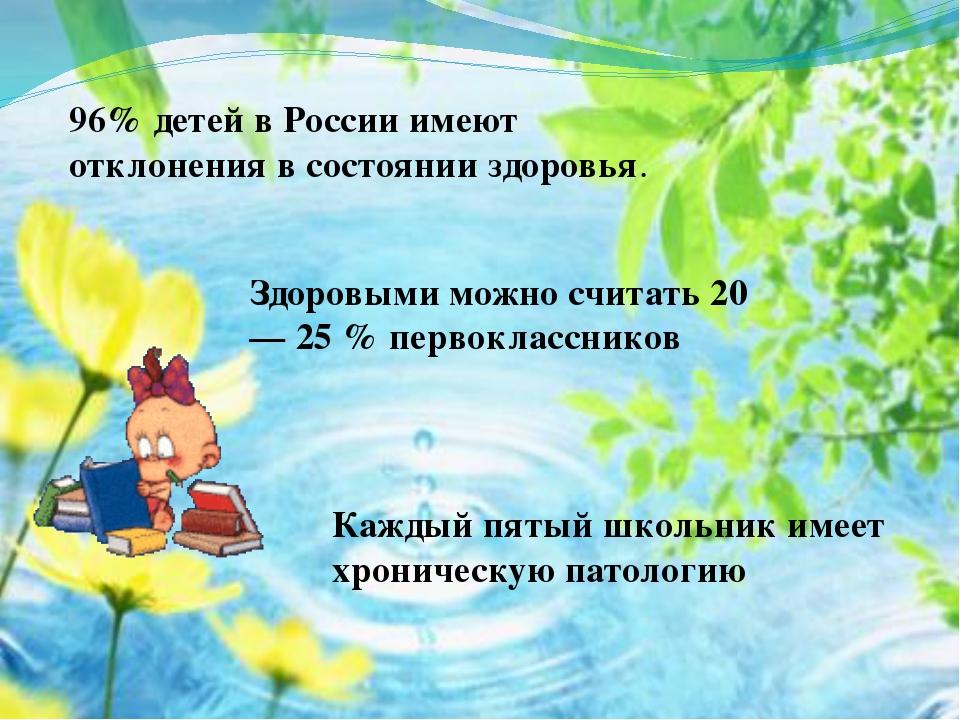 96% детей в России имеют отклонения в состоянии здоровья. Здоровыми можно счи...