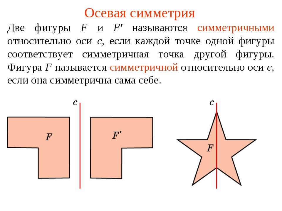 Осевая симметрия Две фигуры F и F' называются симметричными относительно оси...