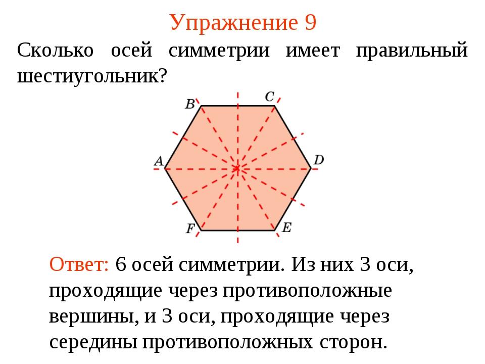 Упражнение 9 Сколько осей симметрии имеет правильный шестиугольник? Ответ: 6...