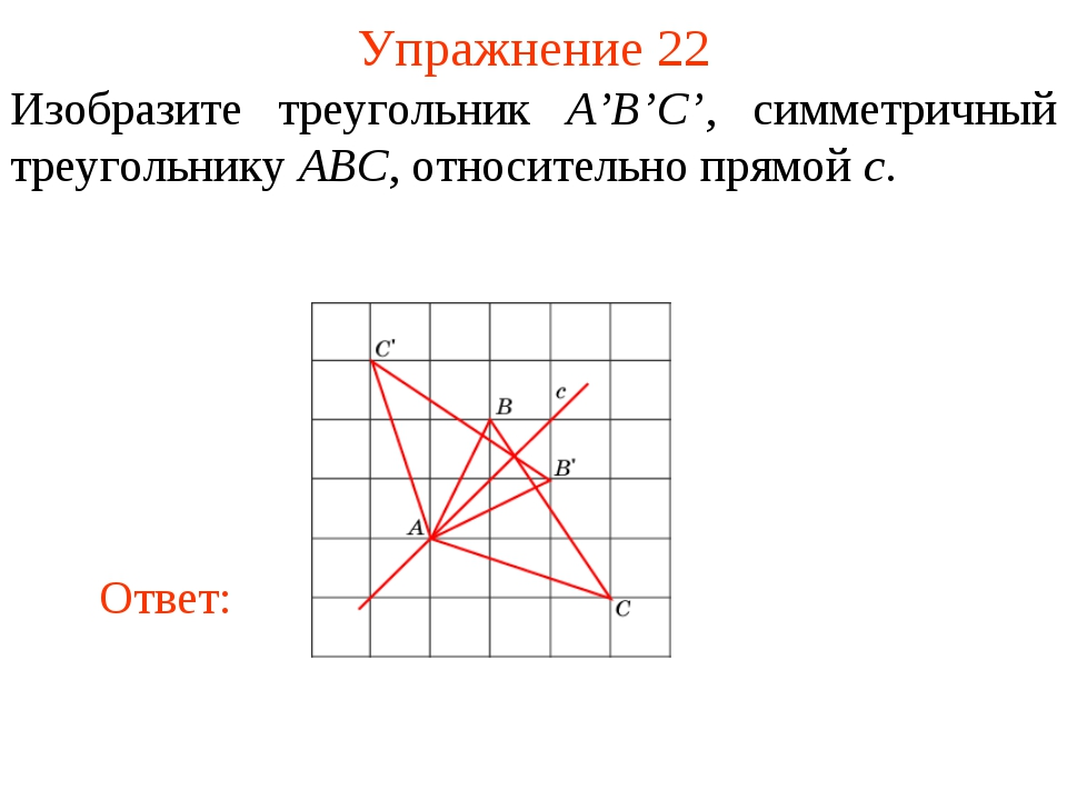 Упражнение 22 Изобразите треугольник A'B'C', симметричный треугольнику ABC, о...