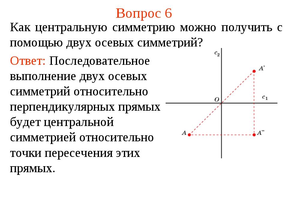 Вопрос 6 Как центральную симметрию можно получить с помощью двух осевых симме...