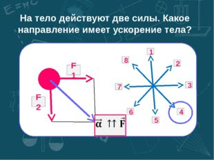 На тело действуют две силы. Какое направление имеет ускорение тела? 8 7 6 5