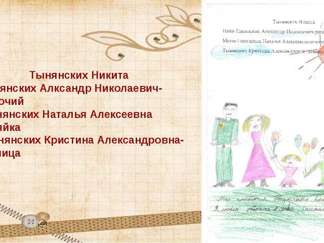 Тынянских Никита Папа-Тынянских Алксандр Николаевич-разнорабочий Мама-Тынянск...