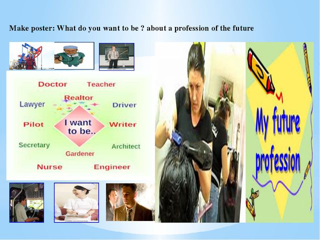 Make poster: What do you want to be ? about a profession of the future