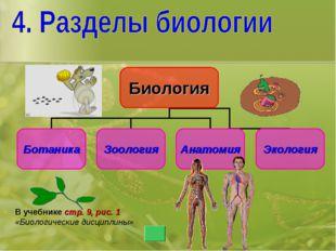 В учебнике стр. 9, рис. 1 «Биологические дисциплины»