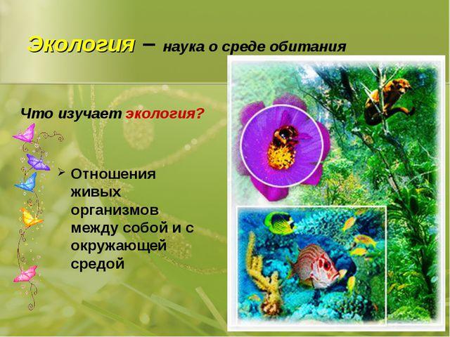 Экология – наука о среде обитания Отношения живых организмов между собой и с...