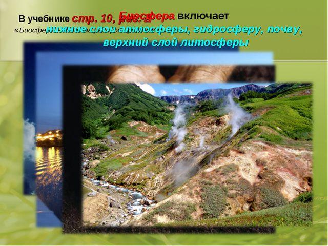 В учебнике стр. 10, рис. 2 «Биосфера – область распространения жизни» Биосфер...