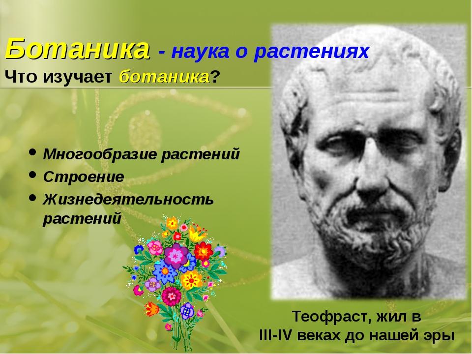 Ботаника - наука о растениях Что изучает ботаника? Многообразие растений Стро...