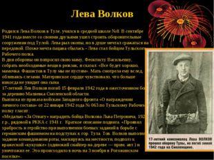 Родился Лева Волков в Туле, учился в средней школе №8. В сентябре 1941 года в