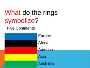 What do the rings symbolize? FiveContinents Europe Africa America Asia Austra