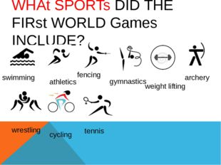WHAt SPORTs DID THE FIRst WORLD Games INCLUDE? swimming athletics gymnastics