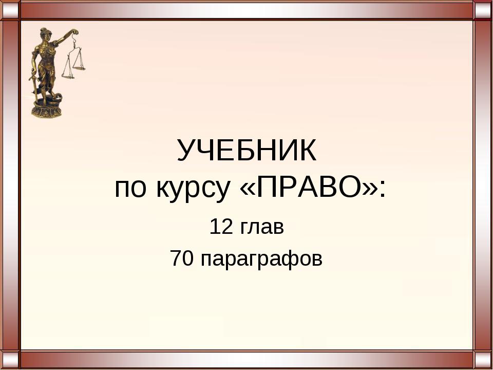 УЧЕБНИК по курсу «ПРАВО»: 12 глав 70 параграфов