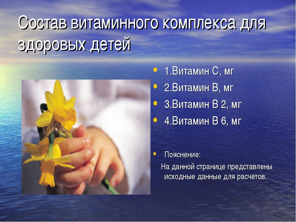 Состав витаминного комплекса для здоровых детей 1.Витамин С, мг 2.Витамин В,...