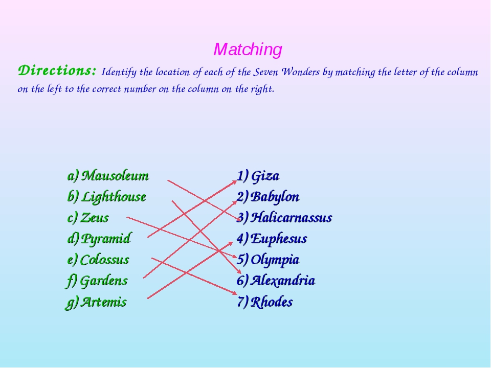 Matching Directions: Identify the location of each of the Seven Wonders by ma...