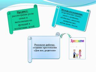 Предмет: рассмотрение роли семьи и выполнения ею функций в воспитании детей М
