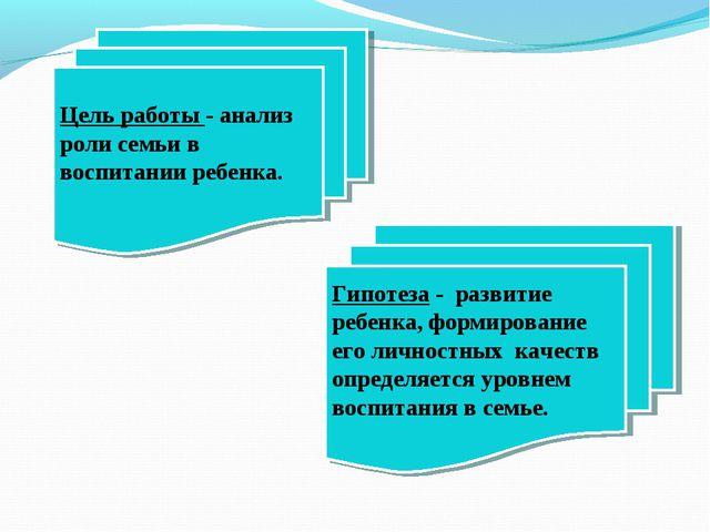 Цель работы - анализ роли семьи в воспитании ребенка. Гипотеза - развитие реб...